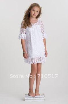 Tea Princess Island White Lace Tiered Dress  Beach Flower Girl ...