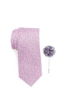 Park Floral Tie, Pocket Square, & Lapel Stick Pin Set