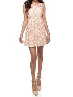 Pink flower crotchet sleeveless mini dress #LittleQueenBoutique