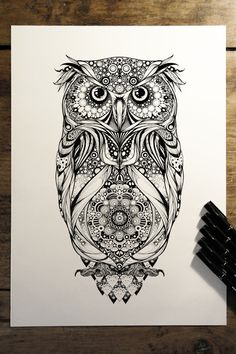 'Spotted Eagle Owl' - commission for Hoot Watches on Behance. future reference: what about an owl with a mandala center? Owl Tattoo Design, Tattoo Designs, Tattoo Ideas, Tattoo Trends, Future Tattoos, Love Tattoos, Mandala Tattoo, Mandala Art, Haut Tattoo