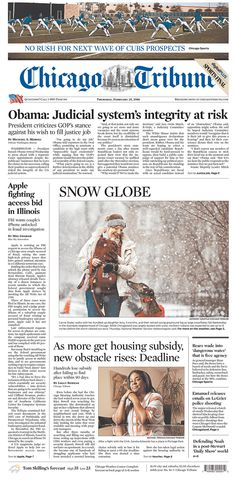 #20160225 #USA #Chicago #ILLINOIS #ChicagoTribune Thursday FEB 25 2016 http://www.newseum.org/todaysfrontpages/?tfp_show=80&tfp_page=3&tfp_id=IL_CT