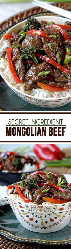 Secret Ingredient Mongolian Beef ~ You will NEVER need to order takeout Mongolian Beef again with this stir fry of tender beef saturated in the most-lick-the-plate delicious, multidimensional sauce ever – all in a quick and easy stir fry!