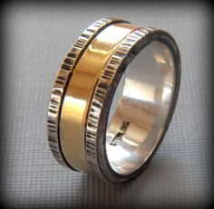Rustic Sterling Silver and Brass Wedding band by VictorianMoon, $255.00