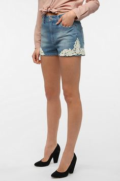 #UrbanOutfitters          #Women #Bottoms           #bdg #high-rise #measurements #erin #embroidered #5-pocket #spandex #sil #fitted #exclusive #cut #denim #stretch #zip #lace #touch #model #short #super #premium                      BDG Erin High-Rise Denim Short - Lace Embroidered   Overview:* Premium 5-pocket jean short from BDG* Topped with lace appliqu?s at the sides* Cut super short in a fitted silhouette* Touch of spandex for stretch and movement* High-rise* Zip fly* UO Exclusive…