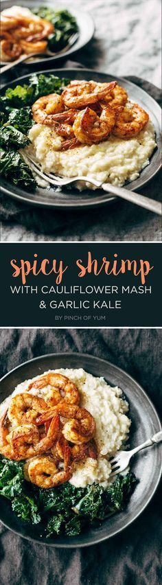 7 Dinners To Make This Week Spicy Shrimp with Cauliflower Mash and Garlic Kale<br> Easy ideas for the best part of your day. Seafood Recipes, Paleo Recipes, Whole Food Recipes, Cooking Recipes, Locarb Recipes, Atkins Recipes, Parmesan Recipes, Bariatric Recipes, Quick Recipes