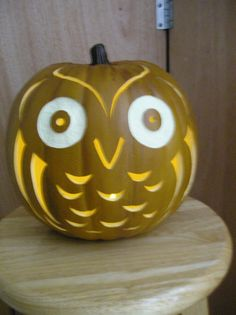Carved Owl Pumpkin for Fall
