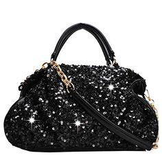BURNING SECRET Women's Leather Sequins Design Zipper Evening Party Handbag Clutch Purse