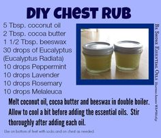 DEEP CHEST RUB - Not only can essential oils help with minor aches and pains but also when you aren't feeling quite right. For a super easy headache salve melt some coconut oil, add 7 drops peppermint and 7 lavender and pour into an old altoids tin. Congestion and coughs can also be soothed and comforted with ingredients you may have at home. Try is Vapo Rub. *REGULAR COCONUT OIL