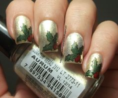 Christmas Holly Nails - Winter Holiday Challenge