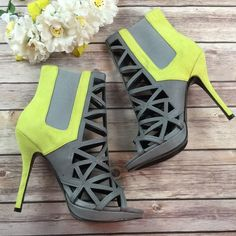 Paper Fox Neon Yellow cut out ankle boots new These shoes are hot! On trend super stylish! Paper Fox Shoes Ankle Boots & Booties