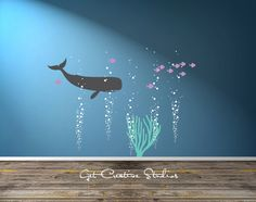 Aquarium Bubbles Decal School of Fish Decal Ocean Scene Wall Art Underwater Wall Decal Nautical Theme Ocean Nursery Nautical Baby Room Decal  Great addition to your aquarium or deep sea themed wall. Looks great as is!  Overall dimensions of design = 65H x 55W (with coral option)  Whale 22H x 39W Coral 22H x 18W 5 Bubble Columns • each one is 22H x 5-10 (each one is layed out as seen in 2nd photo - add included extra bubbles on top to finish the look - Very Easy!) 80 Extra Bubbles (Large…