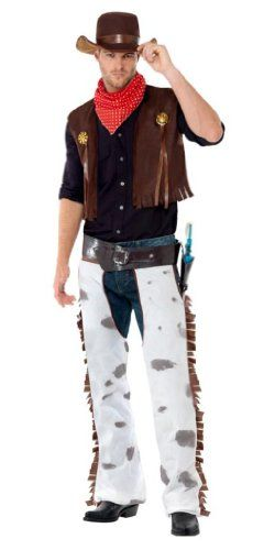 Smiffys Mens Cowboy Costume with Waistcoat Chaps Scarf and Hat Multi Medium >>> Click on the image for additional details.