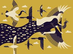 Hera & the Peacock by Owen Davey #Design Popular #Dribbble #shots