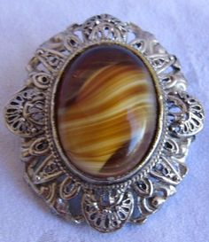 "Vintage Hollywood Pin Brooch Faux Tiger Eye Ornate Silver Tone Cabochon 1.5"" #Hollywood"