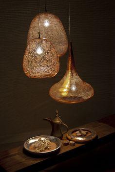 Beautiful Copper Unique Lighting Design by Zenza Copper Lighting, Unique Lighting, Home Lighting, Lighting Design, Pendant Lighting, Lighting Ideas, Egyptian Home Decor, Moroccan Interiors, Oriental Design