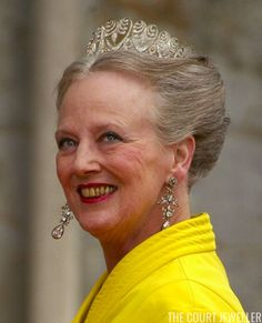 Queen Margrethe wears the Baden Palmette tiara at the Norwegian royal wedding in 2002 (Photo:Sion Touhig/Getty Images)