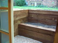 Egress Window Well - Railroad ties - We are looking for something like this but with more plants and terraces. Basement Window Well, Basement Entrance, Basement Windows, Basement House, Basement Apartment, Basement Bedrooms, Bedroom Windows, Egress Window, Basement Inspiration