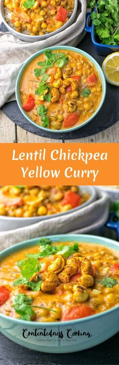 Lentil Chickpea Yellow Curry | #vegan #glutenfree #contentednesscooking