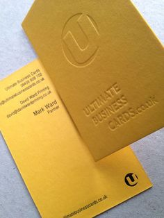 Colorplan Citrine 540gsm – blind debossed on front – black foil on reverse