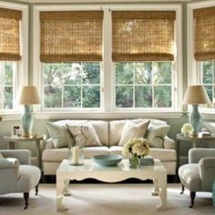 Bamboo Blinds - Design Chic – beautiful living room from Phoebe Howard – love the bamboo shades - Woven Wood Shades, Bamboo Shades, Bamboo Blinds, Wood Blinds, Window Blinds, Matchstick Blinds, Privacy Blinds, Sheer Blinds, Grey Blinds
