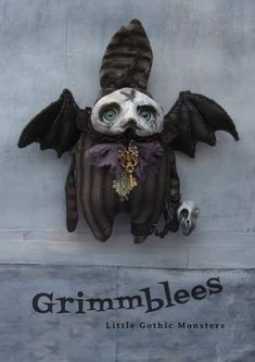 Anxst the Grimmblee a one of a kind creepy-cute Gothic Soft Sculpture, Sculptures, Crow Skull, Clay Faces, Creepy Cute, Little Monsters, Cute Creatures, Black Felt, Vintage Fabrics