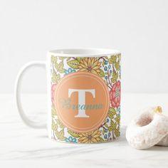 #Vintage floral pattern monogram mug - cyo customize design idea do it yourself diy