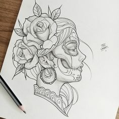 Tattoos Ideas For Men Hai Tattoos, Skull Tattoos, Body Art Tattoos, Sleeve Tattoos, Art Drawings Sketches, Tattoo Sketches, Tattoo Drawings, Compass Tattoo, Catrina Tattoo