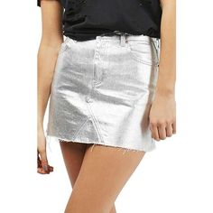 Women's Topshop Moto High Waist Metallic Denim Miniskirt (€61) ❤ liked on Polyvore featuring skirts, mini skirts, silver, high-waisted skirts, white high waisted skirt, high waisted mini skirt, high waisted short skirts and short denim skirts