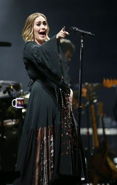 Adele peforming on stage at the Glastonbury Festival