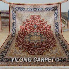 Yilong 6'x9' Hand knotted floor carpet rectangel red medallion handmade silk rug (0296)