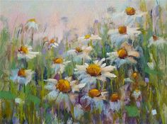 "Daily Paintworks - ""How to Paint Daisies in Pastel Using a Watercolor Underpainting"" - Original Fine Art for Sale - © Karen Margulis"