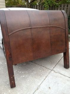 pottery barn leather headboard