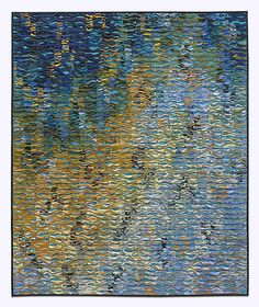 Summer Shimmer Suite # 6 by Tim Harding: Fiber Wall Art available at www.artfulhome.com Textured fiber wall piece made in a multi-layered, reverse applique technique of iridescent, lustrous, hand-loomed Indian silks.