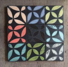Various glazing with raku firing. combination of nine tiles. Decorative Tile, Tile Design, Tiles, Flooring, Texture, Stone, Interior, Tiling, Architecture