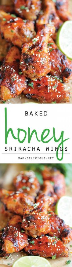 Baked Honey Sriracha Wings Recipe - These wings are perfect game day food with an amazing combination of sweetness and spiciness in every bite, and they're baked to absolute crisp perfection! I Love Food, Good Food, Yummy Food, Tasty, Sriracha Wings, Sriracha Chicken, Honey Chicken, Baked Chicken, Appetizer Recipes