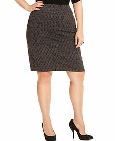 Style&co. Plus Size Skirt, Printed Pull-On Pencil