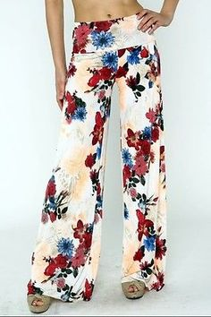 NEW MODE Floral Print Wide Leg Palazzo Pants - Multi: Cream/Burgundy, Pink/Royal