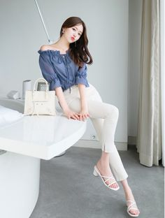T-Shirts, Dress, Blouse, Skirts, Pants & Korean Fashion Summer Casual, Korean Fashion Dress, Kpop Fashion Outfits, Girls Fashion Clothes, Ulzzang Fashion, Casual Summer, Basic Outfits, Korean Outfits, Cute Casual Outfits