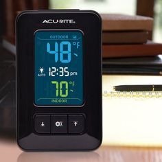 NEW and in stock at AcuRite.com! Color Digital Indoor / Outdoor Thermometer with Clock 02023  The digital thermometer's illuminated screen displays the current indoor temperature, outdoor temperature, daily high / low records, and the time in colorful digits.  $29.99 http://www.acurite.com/color-digital-indoor-outdoor-thermometer-with-clock-02023.html