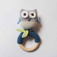 Rattle/teething ring blue OWL by PoppaPoppen on Etsy