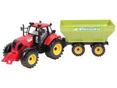Traktor mit Anhänger Bauernhof Kuh Bulldog Trecker Fahrzeug aus Holz Spielzeug Bauernhof Holzspielzeug