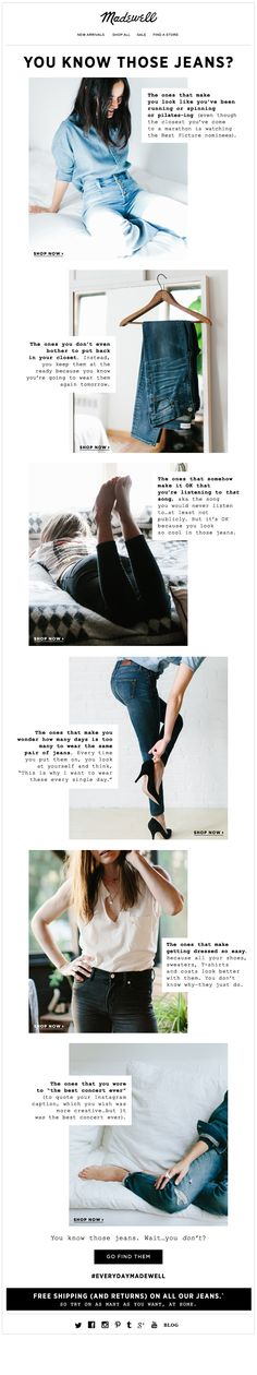 Amazing combination of copy + images to tell an emotional jeans story