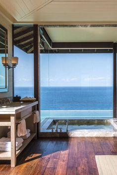 How quickly can I renovate my bathroom to look like this?! Four Seasons Resort Seychelles (Mahe Island, Seychelles) - Jetsetter