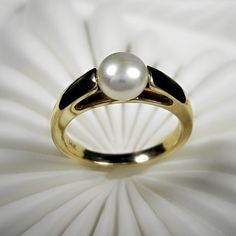 Pearl Engagement Ring  Cultured button pearl and by beyondtherockz, $695.00