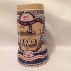 1989 Miller Beer Stein Great American Achievements First River Steamer