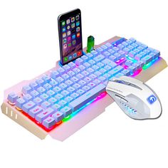 UrChoiceLtd® 2017 XinMeng Rainbow LED Backlit Multimedia Ergonomic Usb Gaming Keyboard with Phone and Lighter Stand + 6 Buttons Gaming Mouse Sets + Cool Mouse Pad For PC Laptop Computer Gaming Computer, Laptop Computers, Computer Keyboard, Keyboard Keys, Mac Laptop, Usb, Taiwan, Support Telephone, Gaming Accessories