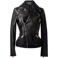 Alexander McQueen black biker jacket ($2,345) ❤ liked on Polyvore featuring outerwear, jackets, coats, leather jacket, tops, alexander mcqueen, leather jackets, rider jacket, leather motorcycle jacket and genuine leather jackets