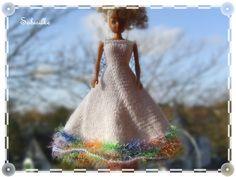 Puppenkleidung - Abendkleid mit weitem Rock für Barbie ** weiss - ein…