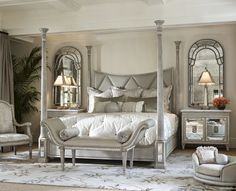 Master Bedroom Oasis bernhardt | eaton square sleigh bed, linen tufted just got this