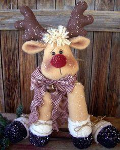 """""""Rudy Reindeer"""" Pattern is a 21"""" Sitting Reindeer"""